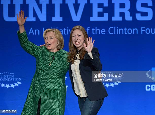 Former US Secretary of State and US Senator Hillary Clinton and Chelsea Clinton speak at the 2015 Meeting of Clinton Global Initiative University at...