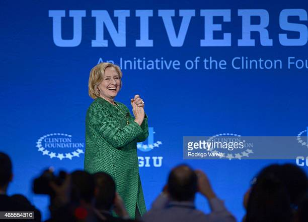 Former US Secretary of State and US Senator Hillary Clinton speaks at the 2015 Meeting of Clinton Global Initiative University at University of Miami...
