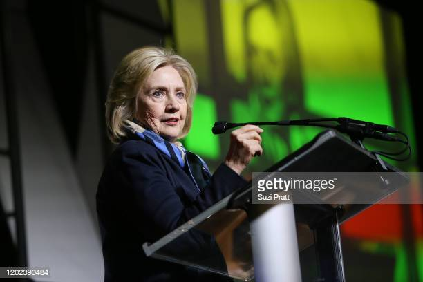 Former US Secretary of State and US Senator Hillary Rodham Clinton speaks onstage during the 2020 Women at Sundance Celebration hosted by Sundance...
