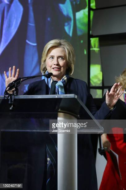 Former U.S. Secretary of State and U.S. Senator, Hillary Rodham Clinton speaks onstage during the 2020 Women at Sundance Celebration hosted by...
