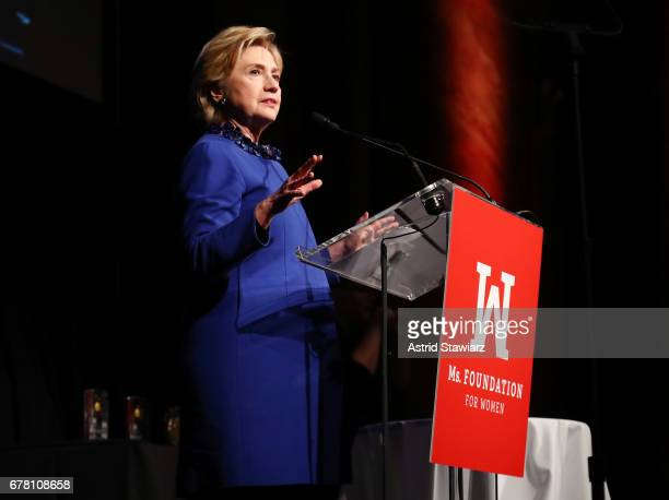Former US Secretary of State and WOV Honoree, Hilary Clinton speaks onstage at the Ms. Foundation for Women 2017 Gloria Awards Gala & After Party at...