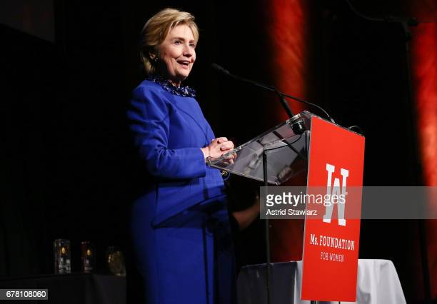 Former US Secretary of State and WOV Honoree Hillary Clinton speaks onstage at the Ms. Foundation for Women 2017 Gloria Awards Gala & After Party at...