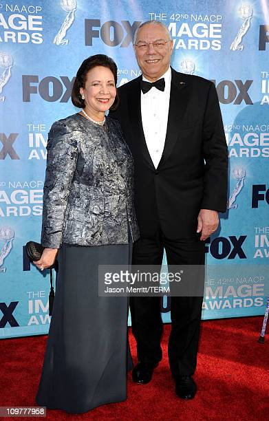 Former US Secretary of State Colin Powell and wife Alma Powell arrive at the 42nd NAACP Image Awards held at The Shrine Auditorium on March 4 2011 in...