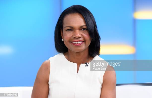 """Former U.S. Secretary of State Condoleeza Rice visits """"FOX & Friends"""" at Fox News Channel Studios on September 10, 2019 in New York City."""