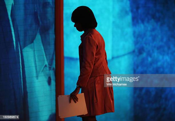 Former US Secretary of State Condoleezza Rice leaves the stage after speaking during the third day of the Republican National Convention at the Tampa...