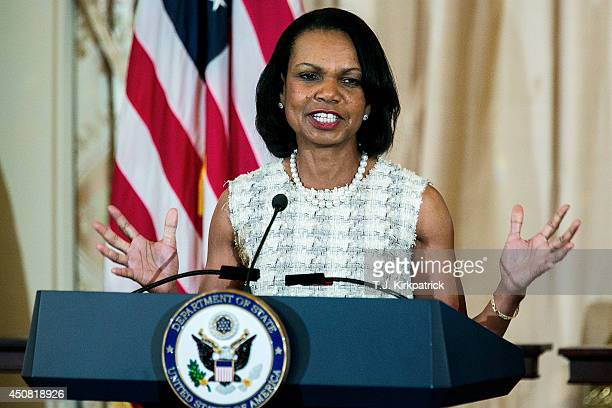 Former US Secretary of State Condoleezza Rice speaks during a ceremony for the unveiling of her official State Department portrait in the Benjamin...