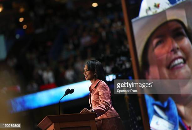 Former US Secretary of State Condoleezza Rice speaks during the third day of the Republican National Convention at the Tampa Bay Times Forum on...