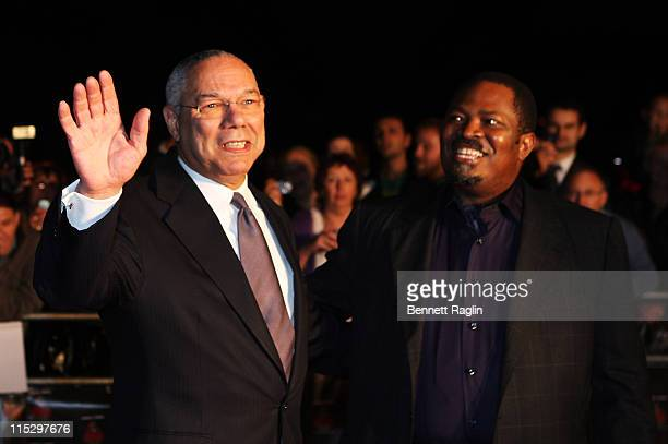 Former US Secretary of State General Colin Powell and Nduka Obaigbena THISDAY founding EditorinChief and Chairman arrives for the Africa Rising...