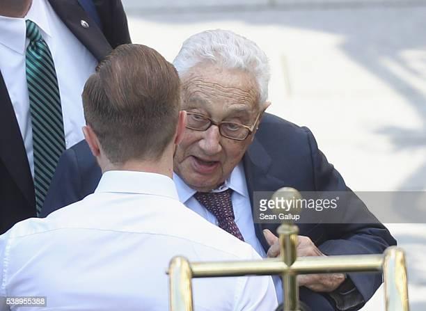 Former U.S. Secretary of State Henry Kissinger arrives at the Hotel Taschenbergpalais Kempinski Dresden for the 2016 Bilderberg Group conference on...