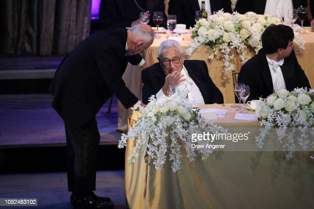 Former US Secretary of State Henry Kissinger attends at the annual Alfred E Smith Memorial Foundation dinner October 18 2018 in New York City The...