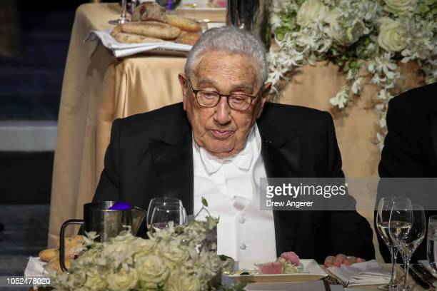 Former US Secretary of State Henry Kissinger attends the annual Alfred E Smith Memorial Foundation dinner October 18 2018 in New York City The annual...