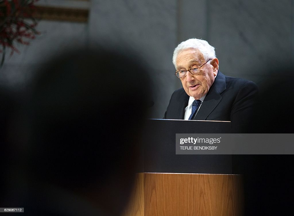 Former US Secretary of State Henry Kissinger speaks at the Nobel Peace Prize Forum in Oslo December 11, 2016. / AFP / NTB Scanpix / Terje BENDIKSBY / Norway OUT