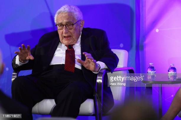 Former US Secretary of State Henry Kissinger speaks during a National Security Commission on Artificial Intelligence conference November 5 2019 in...