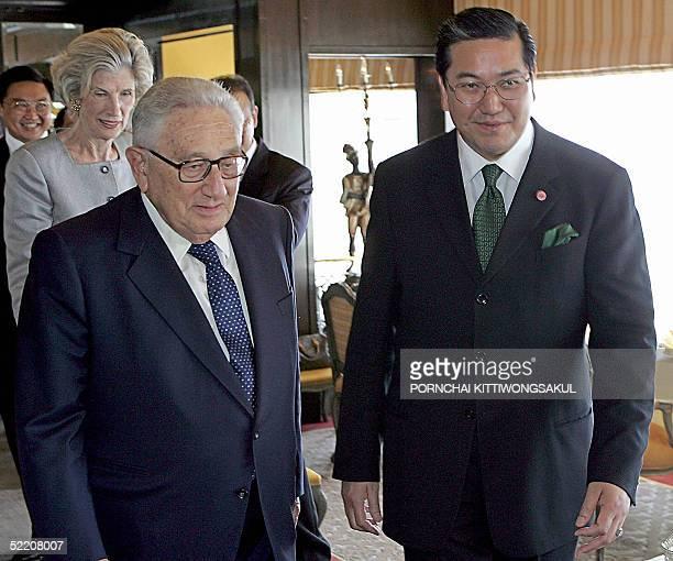 Former US secretary of state Henry Kissinger walks with Thai Foreign Minister Surakiart Sathirathai in Bangkok 17 February 2005 Kissinger is on...
