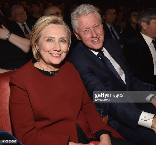 Former U.S. Secretary of State Hillary Clinton and former U.S. President Bill Clinton attend MusiCares Person of the Year honoring Fleetwood Mac at...