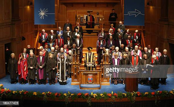 Former US secretary of state Hillary Clinton attends a ceremony where she received an honorary degree from St Andrews University in St Andrews Fife...
