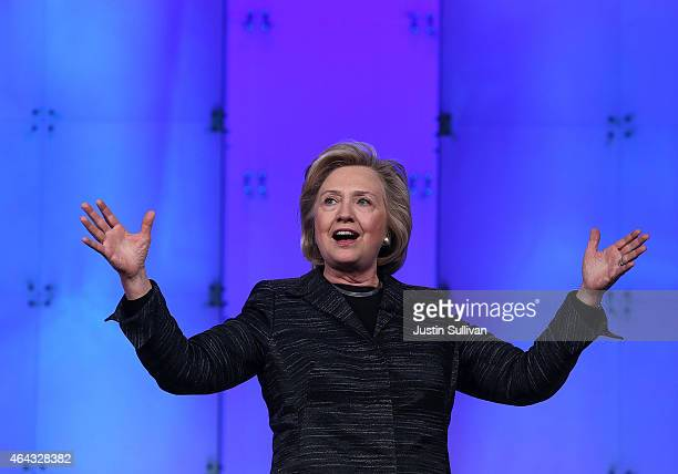 Former U.S. Secretary of State Hillary Clinton delivers a keynote address during the Watermark Silicon Valley Conference for Women on February 24,...