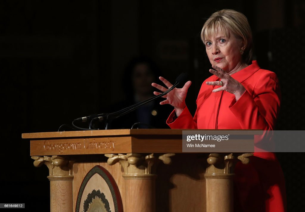 Former U.S. Secretary of State Hillary Clinton delivers remarks at Georgetown University March 31, 2017 in Washington, DC. Clinton spoke before presenting the 2017 Hillary Rodham Clinton Awards for Advancing Women in Peace and Security ceremony hosted by the Georgetown Institute for Women, Peace and Security.