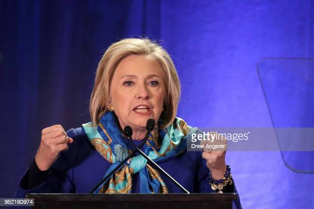 Former US Secretary of State Hillary Clinton delivers the keynote address at the Regional Plan Association annual assembly in Midtown Manhattan April...