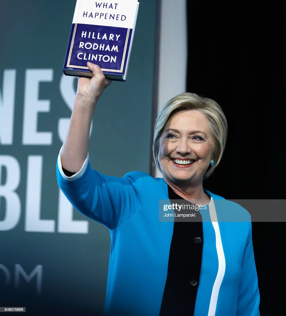 Former US Secretary of State, Hillary Clinton signs copies of her book, 'What Happened' at Barnes & Noble Union Square on September 12, 2017 in New York City.