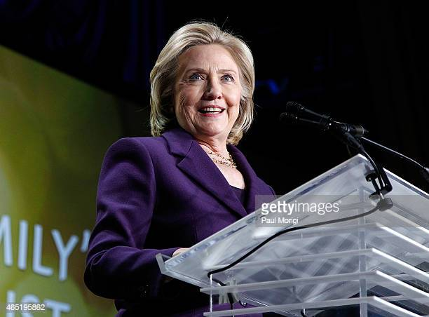 Former US Secretary of State Hillary Clinton speaks after receiving the We Are EMILY award at the EMILY's List 30th Anniversary Gala at Hilton...