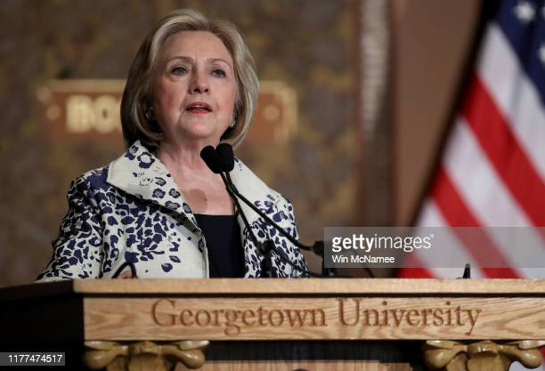 Former US Secretary of State Hillary Clinton speaks at Georgetown University September 27 2019 in Washington DC Clinton delivered remarks before...