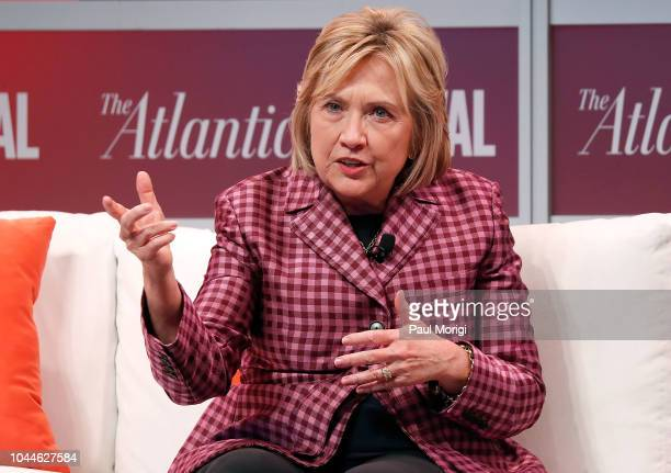 Former US Secretary of State Hillary Clinton speaks at The Atlantic Festival on October 2 2018 in Washington DC