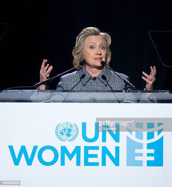 Former US Secretary of State Hillary Clinton speaks at the Step It Up For Gender Equality Celebration of the 20th Anniversary Of The Fourth World...