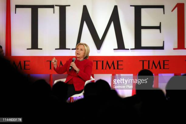 Former US Secretary of State Hillary Clinton speaks at the TIME 100 Summit on April 23 2019 in New York City The daylong TIME 100 Summit showcases...