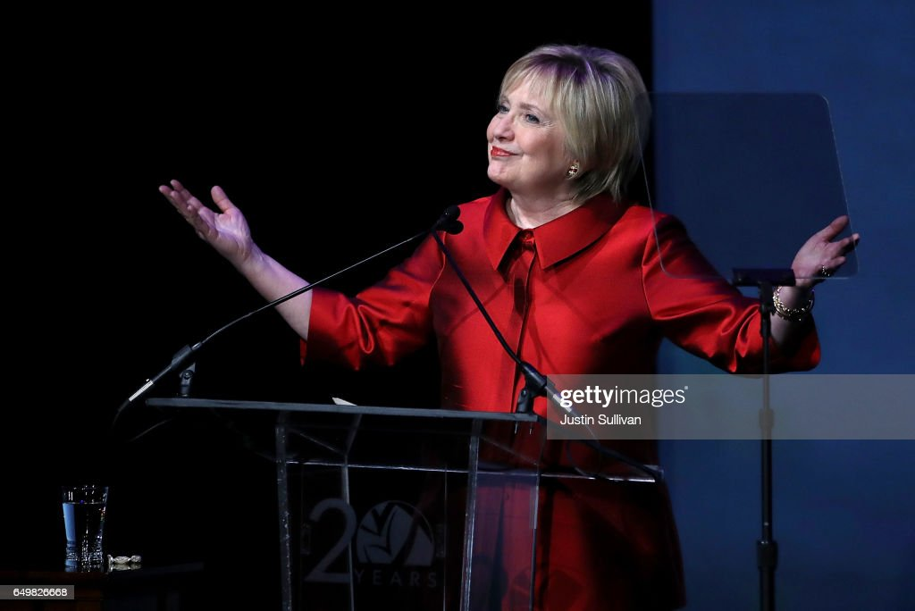 Former U.S. Secretary of State Hillary Clinton speaks during the Vital Voices Global Leadership Awards at the The John F. Kennedy Center for the Performing Arts on March 8, 2017 in Washington, DC. Former Secretary of State Hillary Clinton addressed the 16th annual Global Leadership Awards on International Women's Day.