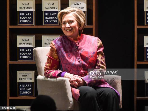 Former U.S. Secretary of State Hillary Clinton speaks onstage during the tour for her new book 'What Happened' at Fox Theater on November 13, 2017 in...