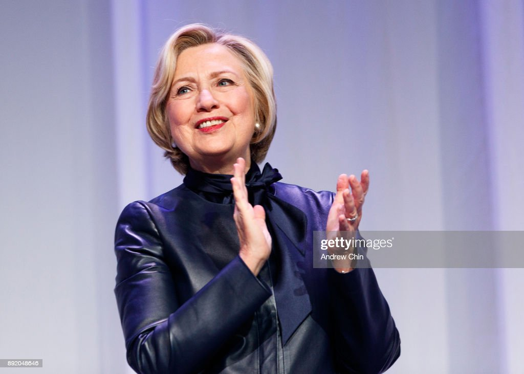 Former U.S. Secretary of State Hillary Clinton speaks onstage during the tour for her new book 'What Happened' at Vancouver Convention Centre on December 13, 2017 in Vancouver, Canada.