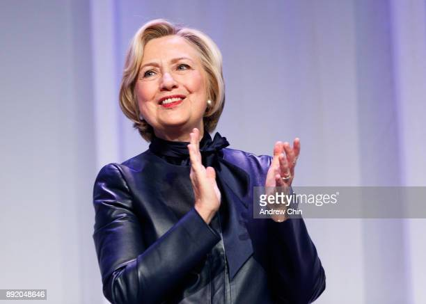 Former US Secretary of State Hillary Clinton speaks onstage during the tour for her new book 'What Happened' at Vancouver Convention Centre on...