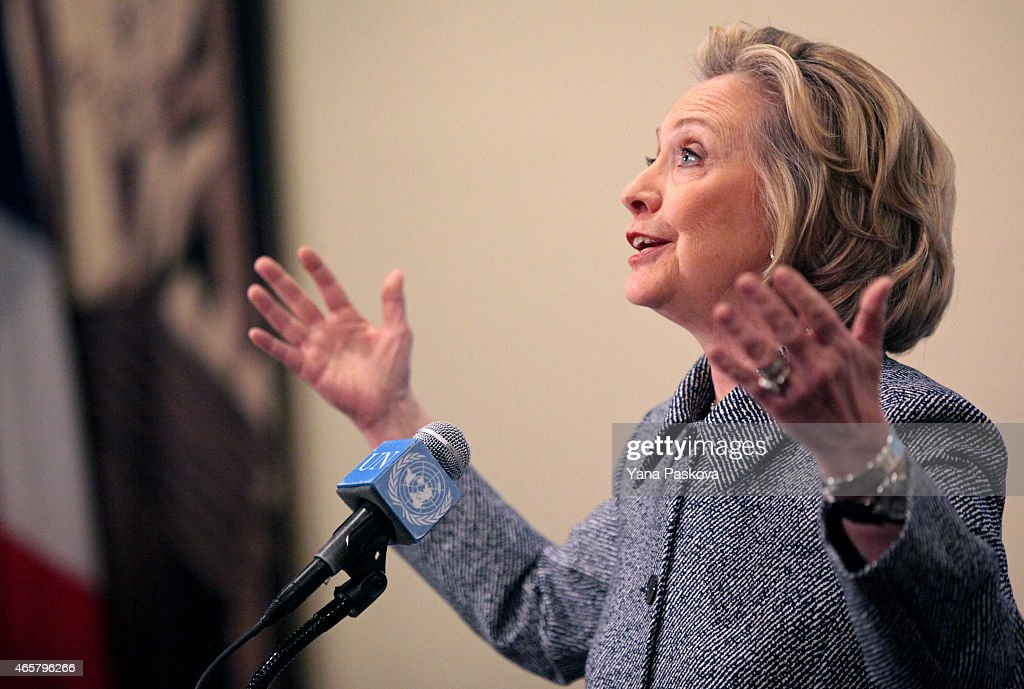 Hillary Clinton Holds Press Conference Over Email Controversy : News Photo