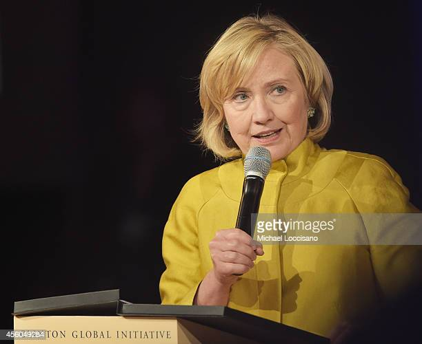 """Former US Secretary of State Hillary Clinton takes part in the Closing Plenary Session: """"Aiming for the Moon and Beyond"""" during the fourth day of the..."""