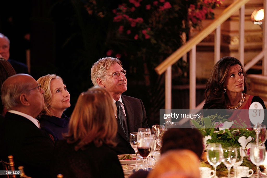 Former U.S. Secretary of State Hillary Rodham Clinton and Harrison Ford attend the Conservation International 16th Annual New York Dinner at The Plaza Hotel on May 15, 2013 in New York City.