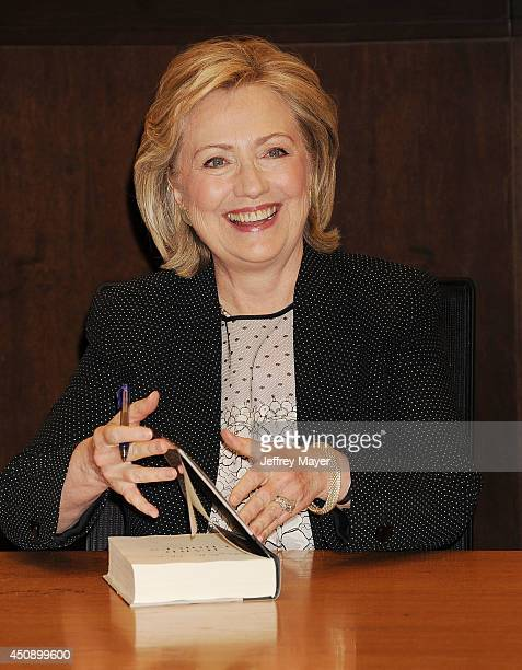 Former US Secretary of State Hillary Rodham Clinton signs and discusses Hard Choices at Barnes Noble bookstore at The Grove on June 19 2014 in Los...