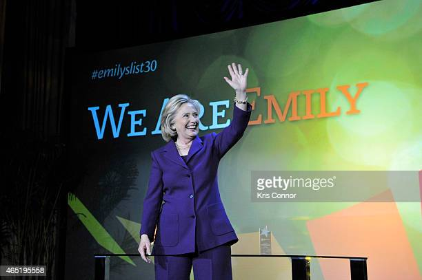 Former US Secretary of State Hilllary Clinton appears onstage at EMILY's List 30th Anniversary Gala at Washington Hilton on March 3 2015 in...