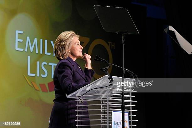 Former US Secretary of State Hilllary Clinton speaks at EMILY's List 30th Anniversary Gala at Washington Hilton on March 3 2015 in Washington DC