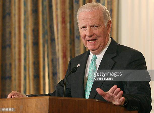 Former US Secretary of State James Baker III Republican member of the National War Powers Commission speaks during a press conference July 8 2008 on...