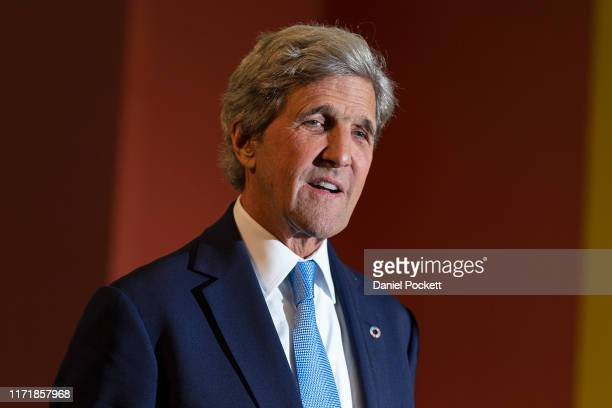 Former US Secretary of State John Kerry attends Global Table at Melbourne Showgrounds on September 03, 2019 in Melbourne, Australia. Global Table is...