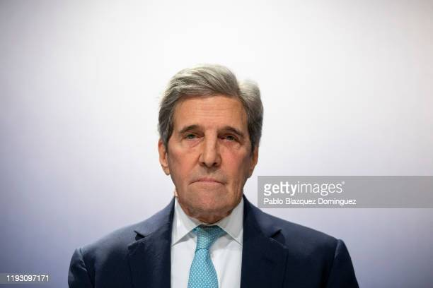 Former US Secretary of State John Kerry attends to a conference at the COP25 Climate Conference on December 10, 2019 in Madrid, Spain. The COP25...