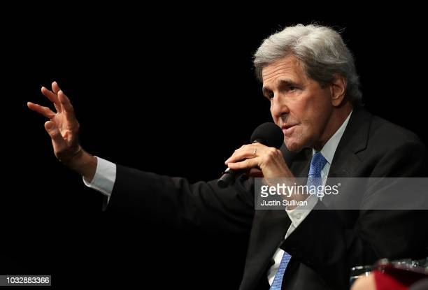 Former US Secretary of State John Kerry speaks during a Commonwealth Club of California event at the Marines' Memorial Theatre on September 13 2018...