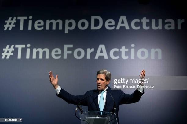 Former US Secretary of State John Kerry speaks during a conference at the COP25 Climate Conference on December 10, 2019 in Madrid, Spain. The COP25...