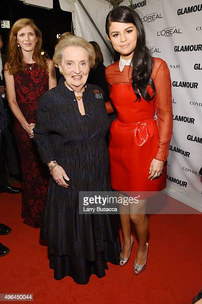 Former US Secretary of State Madeleine Albright and actress Selena Gomez attend 2015 Glamour Women Of The Year Awards at Carnegie Hall on November 9...