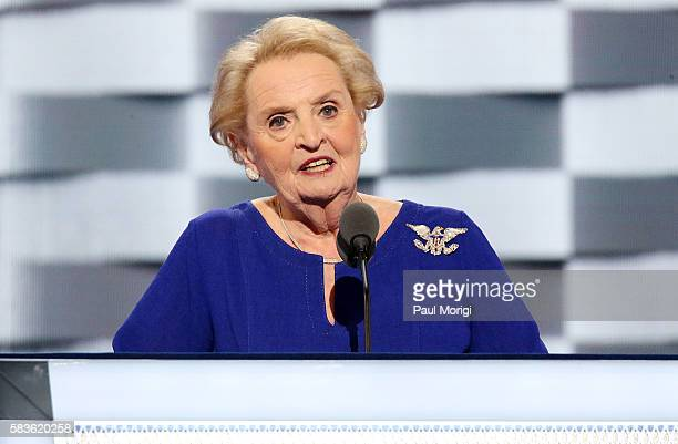 Former US Secretary of State Madeleine Albright delivers remarks on the second day of the 2016 Democratic National Convention at Wells Fargo Center...