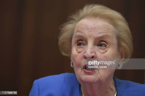 Former US Secretary of State Madeleine Albright speaks during a hearing on National Security Implications of the Rise of Authoritarianism Around the...