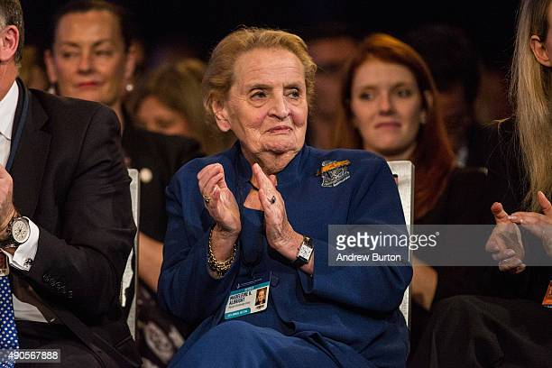 Former US Secretary of State Madeline Albright attends the Clinton Global Initiative's closing session on September 29 2015 in New York City The...
