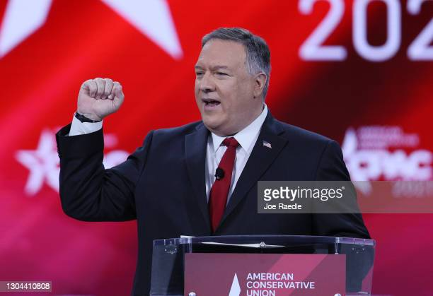 Former U.S. Secretary of State Mike Pompeo addresses the Conservative Political Action Conference held in the Hyatt Regency on February 27, 2021 in...