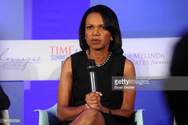 Former US secretary of the State and professor Condoleezza Rice at the TIME Summit On Higher Education Day 1 at Time Warner Center on September 19...